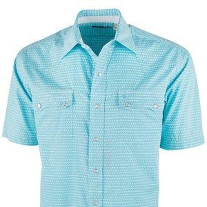 STETSON Short sleeve print pearl snap shirt